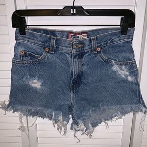 Custom made jean shorts. Old Navy kids 14 fit 0
